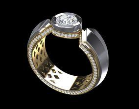 Ring Men Black Dimond 002 3D print model