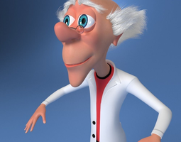 3d model mad scientist cartoon rigged