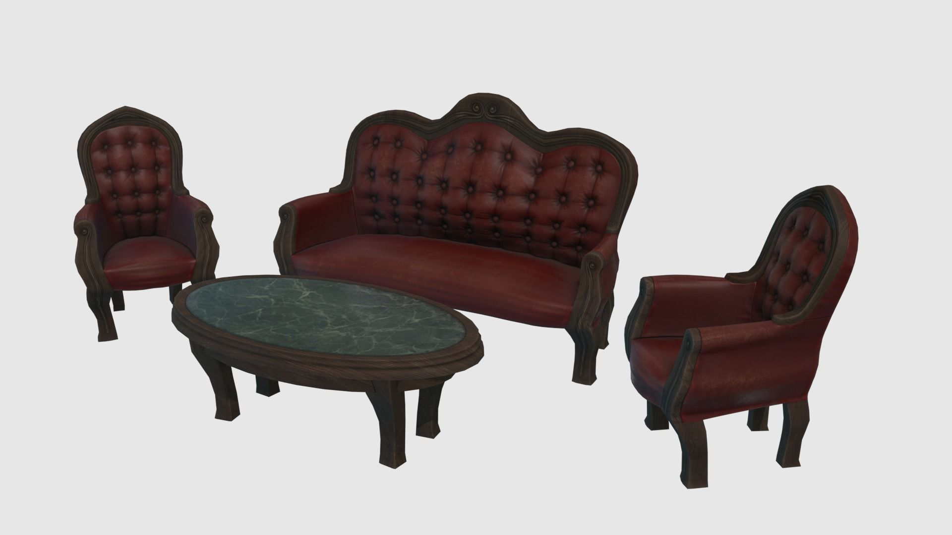Low Poly Victorian Furniture Set