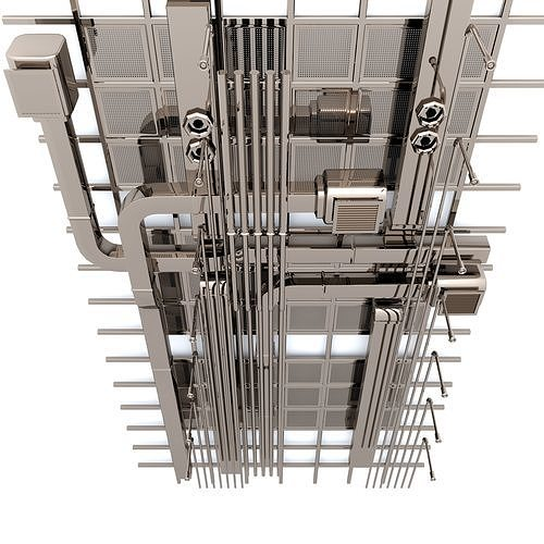 Industrial Ceiling Light 3ds Max: 3D Style Pipes Industrial Ceiling