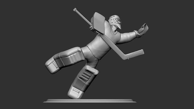 hockey player goalie collectible figure statue 3d print pose 10 3d model obj mtl stl 1