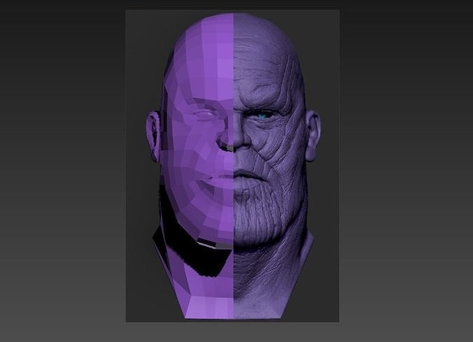 Low poly Thanos Head Model