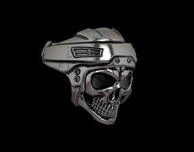 classic Hockey - Bikers Skull Ring - 3D Print Model