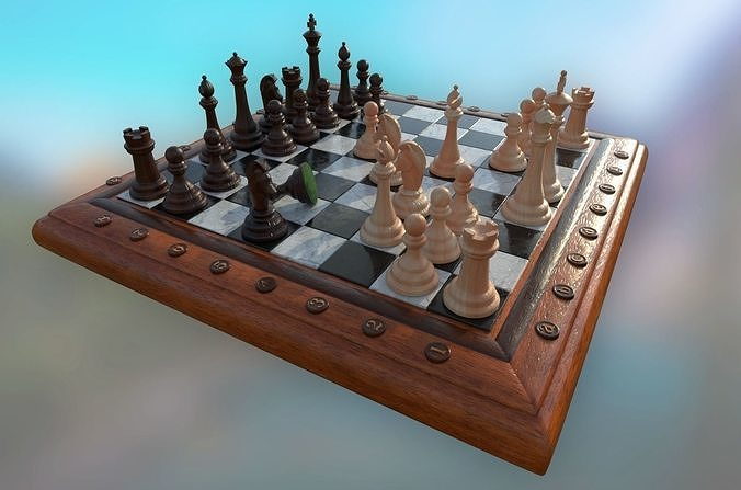 chess set - highpoly and lowpoly 3d model low-poly obj mtl fbx stl blend 1