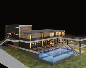 Villa with aquarium pool 3D model