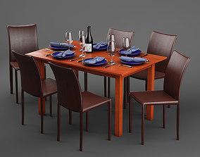 Scandanivian dining table set design 3D model