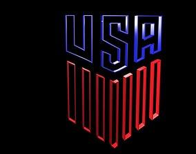3D asset Low poly Logo USA 6