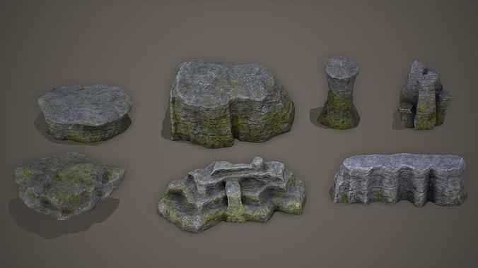 cliff rock set pbr 4k  3d model low-poly max obj mtl 3ds fbx 1