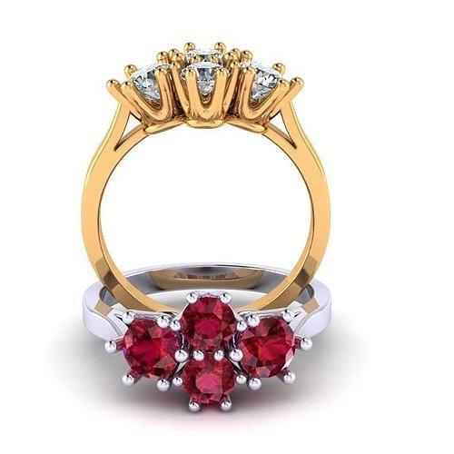 womens ring 4 large stones 3d model obj mtl 3ds stl 3dm 1