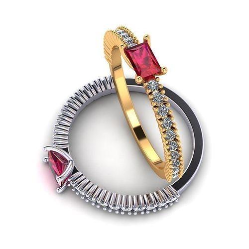 women s ring with square stones 3d model obj mtl 3ds fbx stl 3dm 1