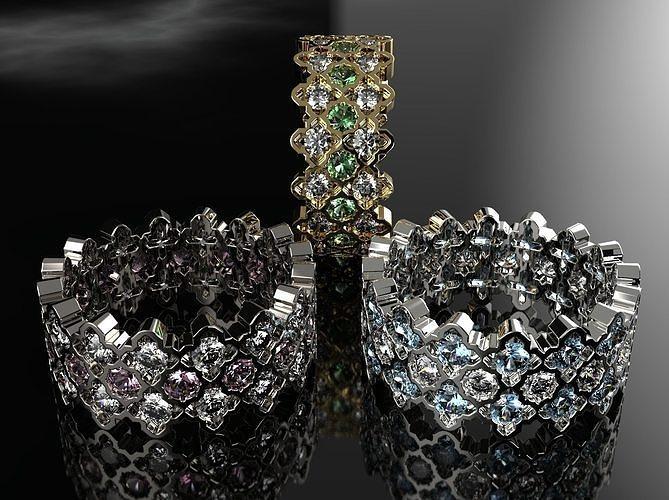 ring with diamonds carpet 3d model stl 3dm 1