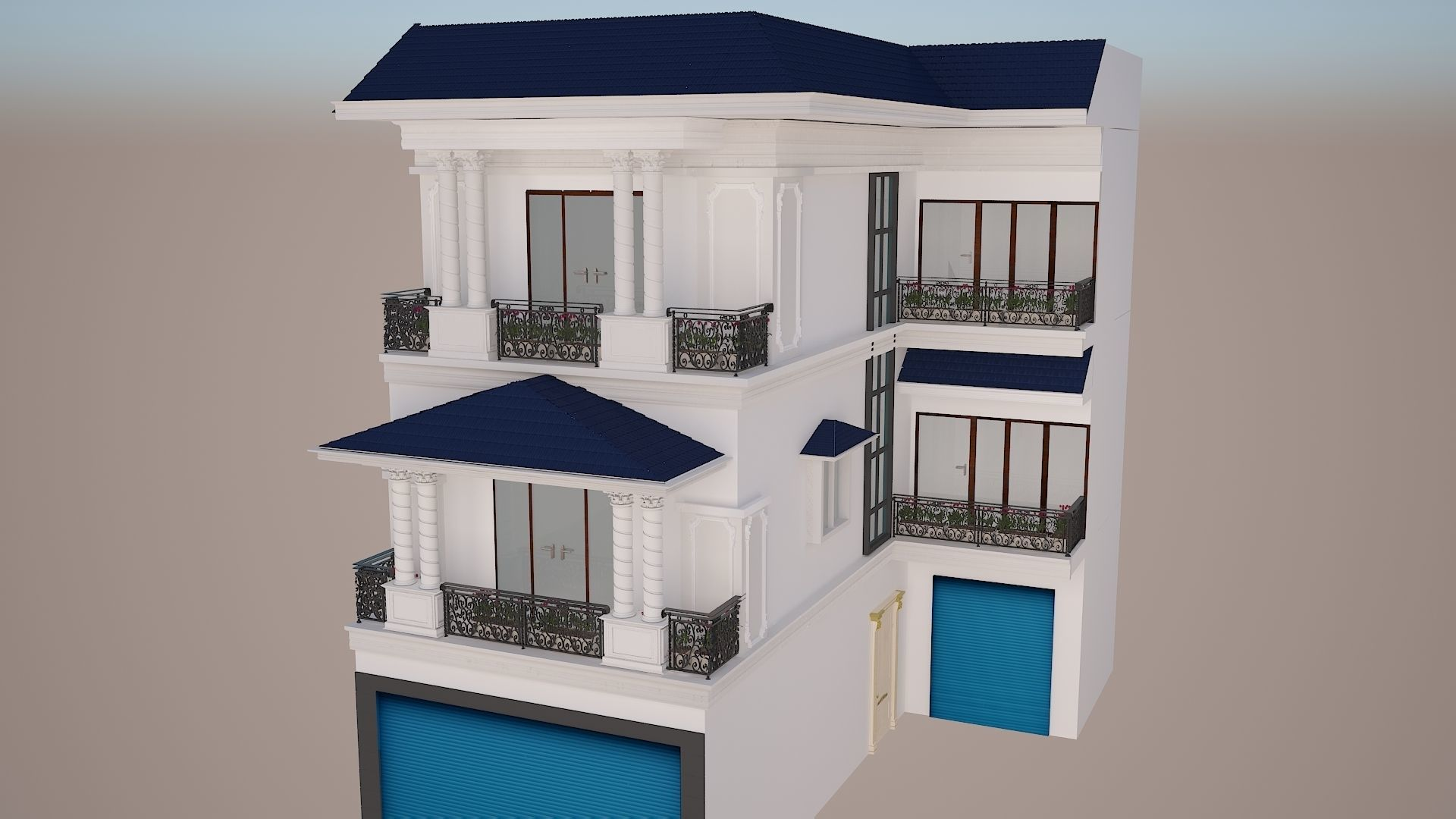 Exterior house Scene with 3ds max and cad file   3D model