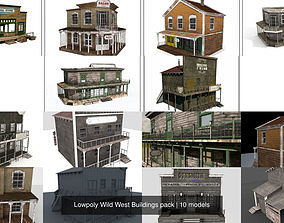Lowpoly Wild West Buildings pack 3D