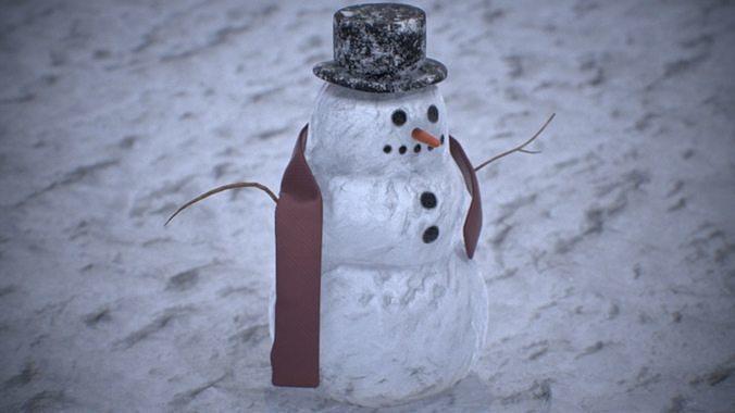 snowman pbr 4k 3d model low-poly max obj mtl 3ds fbx 1