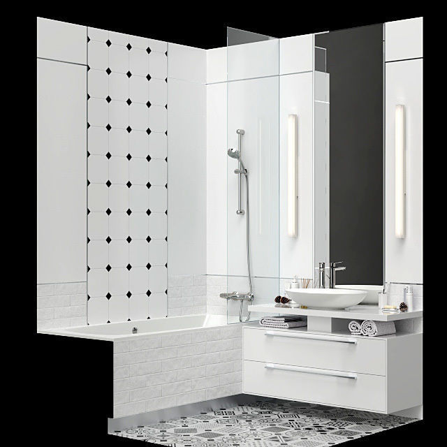 Furniture and decor for a small bathroom 3D model on Model Bathroom Ideas  id=74044
