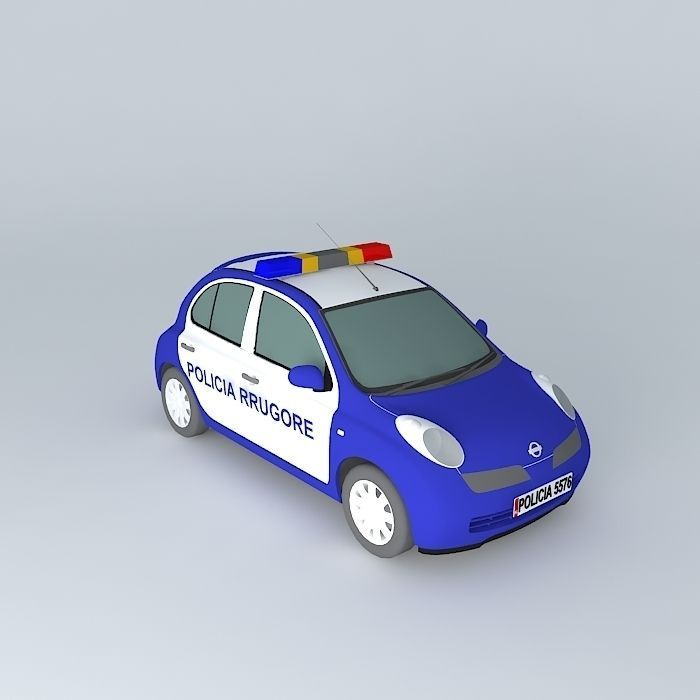 3d Model Nissan March Micra Albanian Police Car Cgtrader
