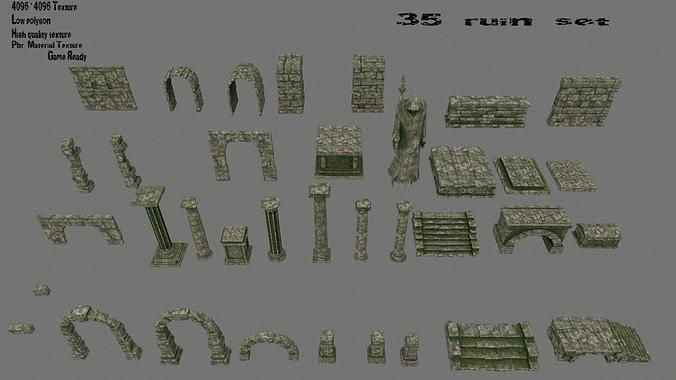 ruin set 3d model low-poly obj mtl fbx blend 1