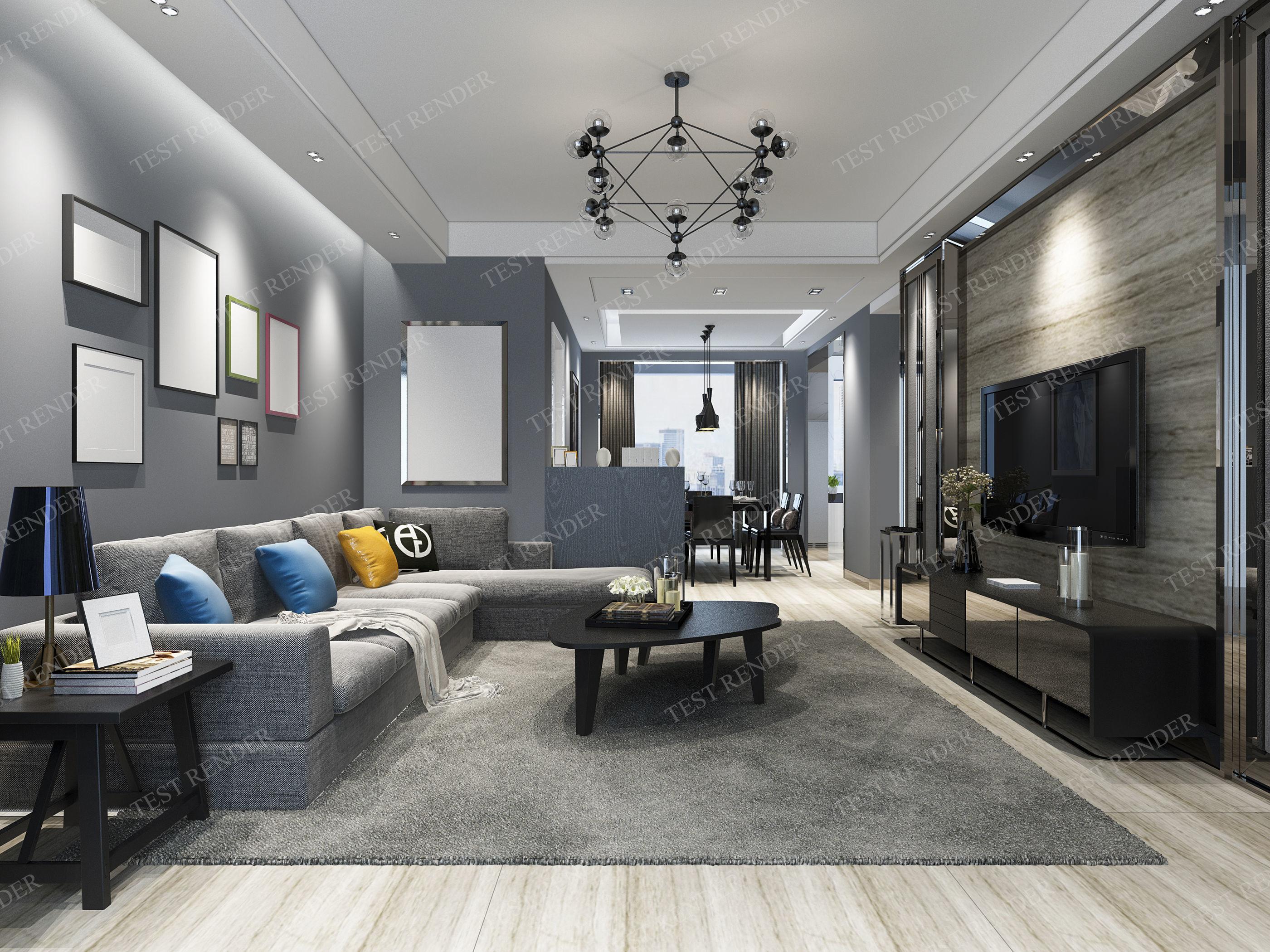lovely living room 3d model | modern living room and dining room 3D model MAX 3DS FBX