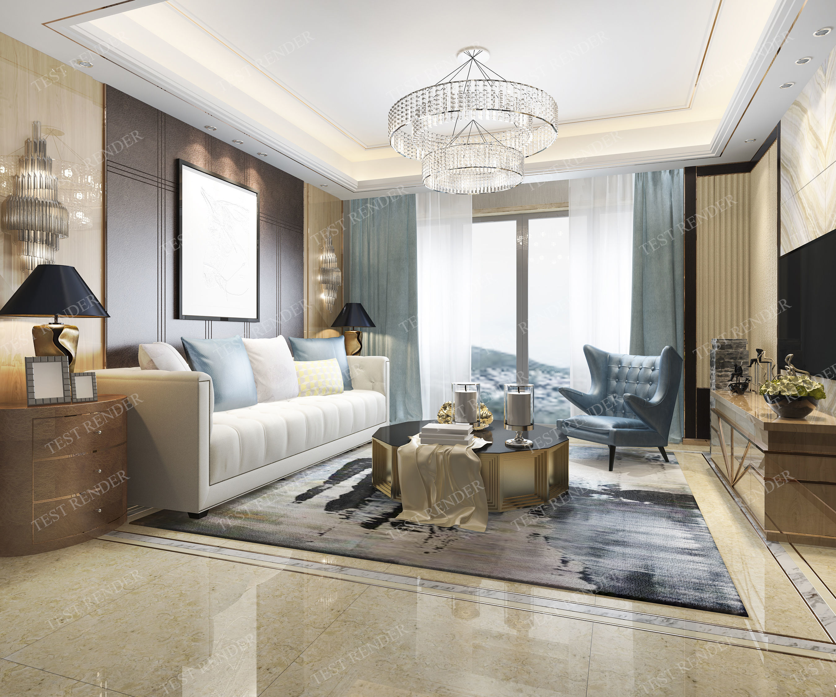 3D model modern living room with luxury design | CGTrader
