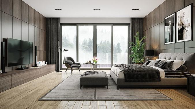 bedroom 1 3d model max obj mtl fbx 1