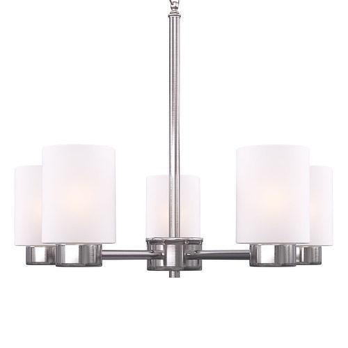 westinghouse sylvestre 5-light brushed nickel chandelier 3d model max obj mtl 1