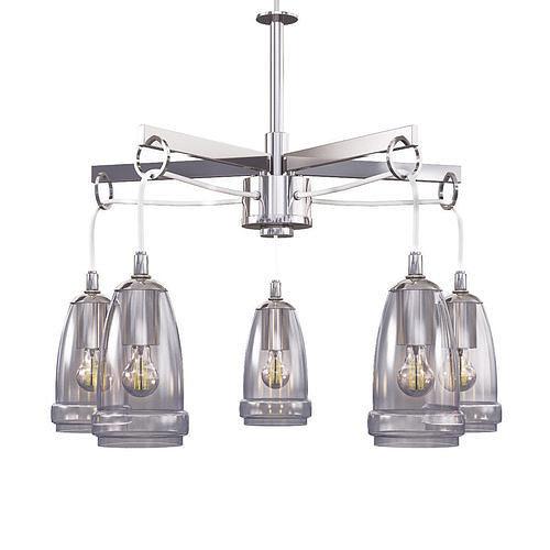 sea gull lighting 5-light brushed nickel single tier chandelier  3d model max obj mtl 1