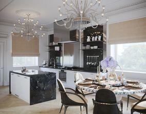 3D Interior Neoclassic Kitchen 02