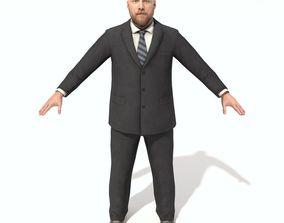Adult Beard Bald Man in Suit 3D