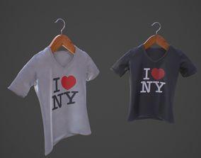 3D model T-Shirt V-Neck on Wooden Hanger - I Love