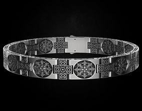 3D printable model Stylish wide mens bracelet with 4