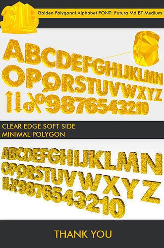 3d golden polygonal alphabet 39 pcs 3d model low-poly max obj mtl 3ds fbx 1