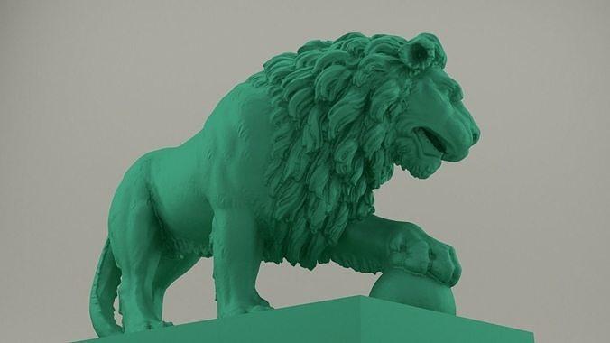 lion statue high resolution 3d model obj mtl stl 1