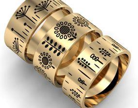 3 rings Flora with enamel 3D printable model