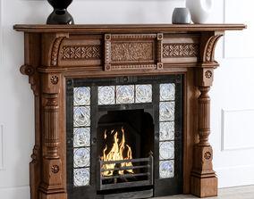 19th Century Antique Oak Fireplace 3D