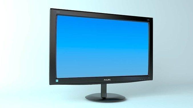 philips monitor 3d model max obj mtl 3ds fbx 1