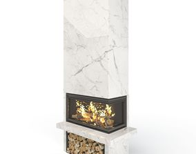Modern Corner Fireplace 3D