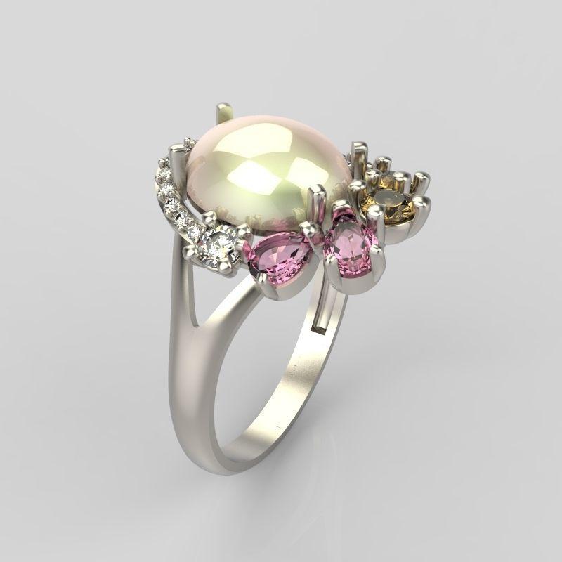 Design Women ring with gems 3dm stl vintage