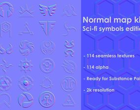 3D model Normal map kit 2 Sci-fi symbols edition
