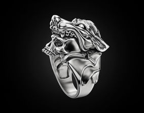 3D printable model Human skull ring and wolf head