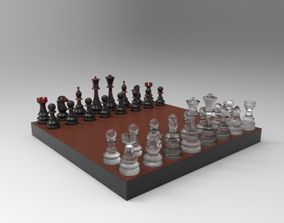 chess board and coins 3D model