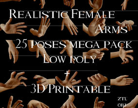 Realistic Female Arms 25 Poses 3D model low-poly