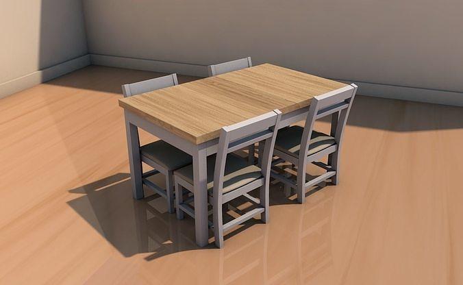 table with cadiras 3d model obj mtl 3ds fbx c4d stl dae 1