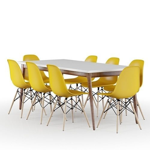 set modern table and yellow eames chairs 3d model max 1