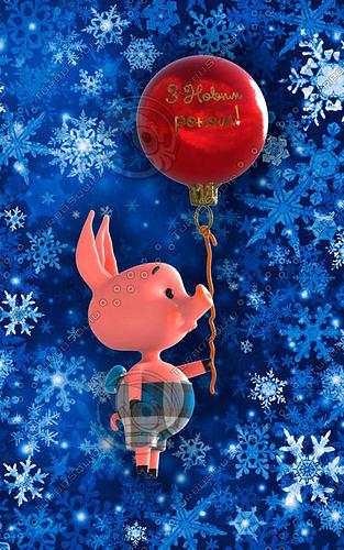 happy new year pig 3d model obj mtl 3b 1