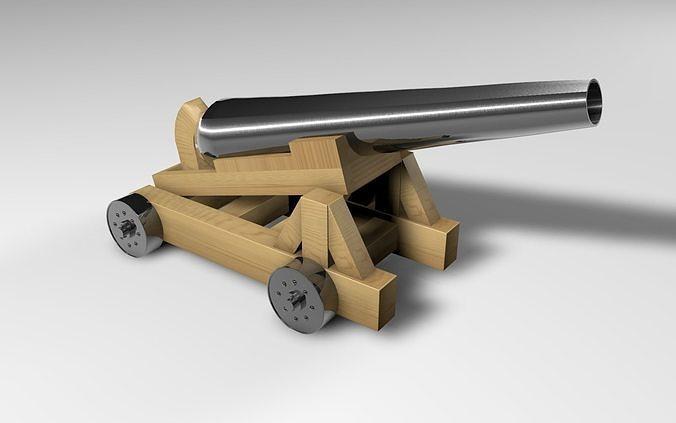 pirate cannon 3d model obj mtl 3ds fbx c4d stl dae 1