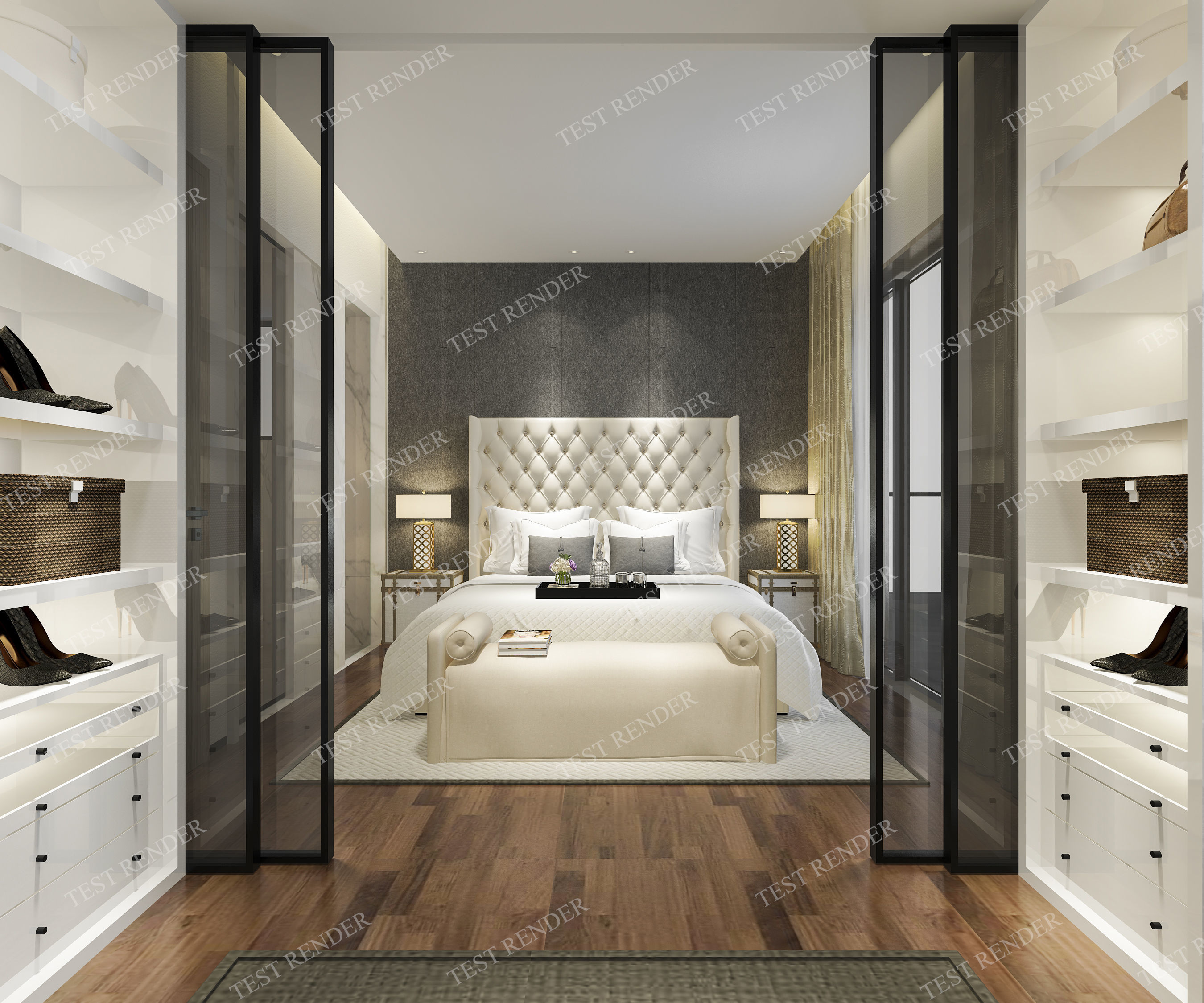 luxury modern bedroom suite with wardrobe and walk in 3D