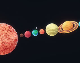 The Solar System Low Poly 3D asset