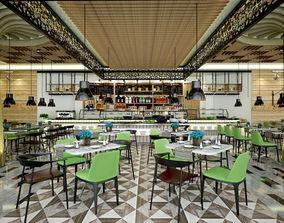 3D Restaurant and Serving Area Inside Hotel