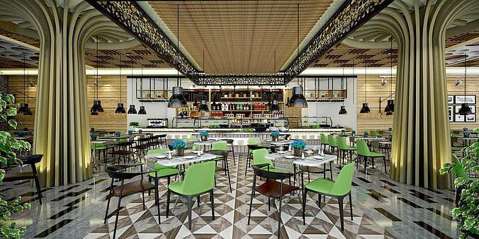 restaurant and serving area inside hotel 3d model skp 1