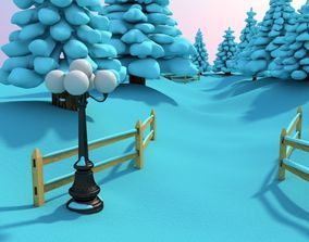 3D model Snowy Outdoor Scene